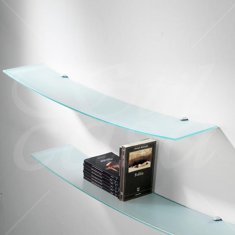 Mensola in cristallo sabbiato temperato curva con reggimensole flexa portata 30 kg pezzani srl - Ferri mobili flexa ...