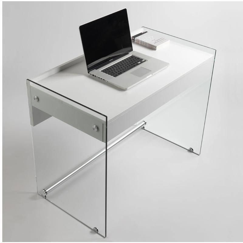 Scrivania portacomputer MYDESK Bianco Opaco con struttura in vetro ...