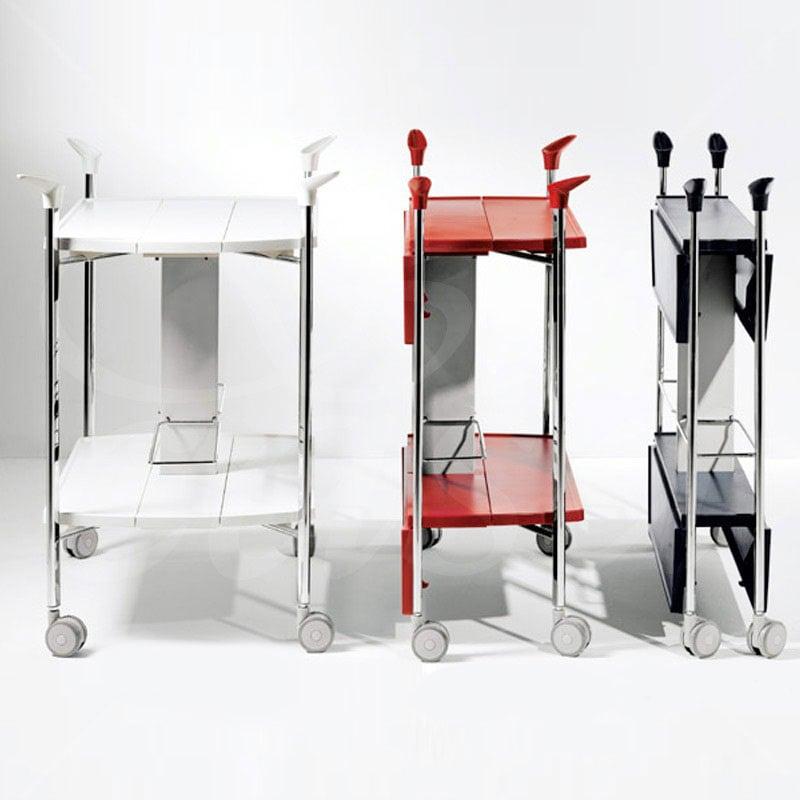 Carrello portavivande multifunzioni richiudibile in soli 15 cm ripiani in abs struttura in - Carrello portavivande da giardino ...