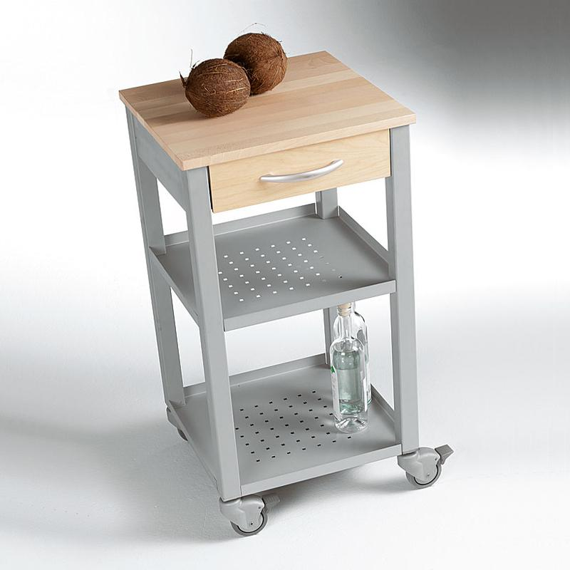 Carrello da cucina 47x47xh87 cm con cassetto due ripiani for Carrello cucina acciaio