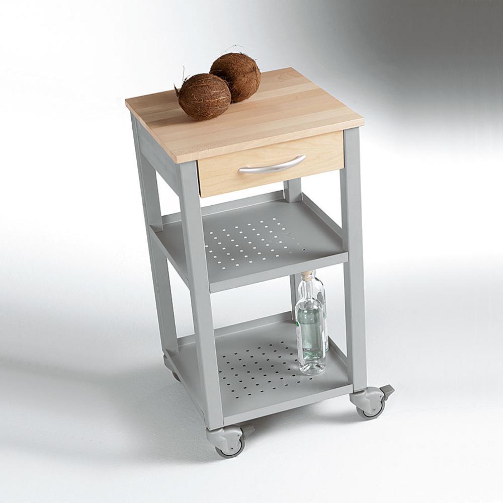 Carrello da Cucina 47x47xh90 cm con cassetto due ripiani top di faggio e struttura in acciaio ...