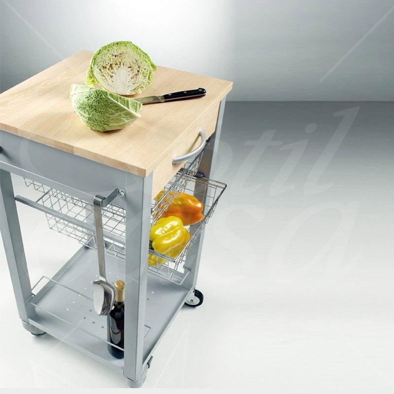 Carrello da cucina con tagliere estraibile struttura in - Carrello estraibile cucina ...