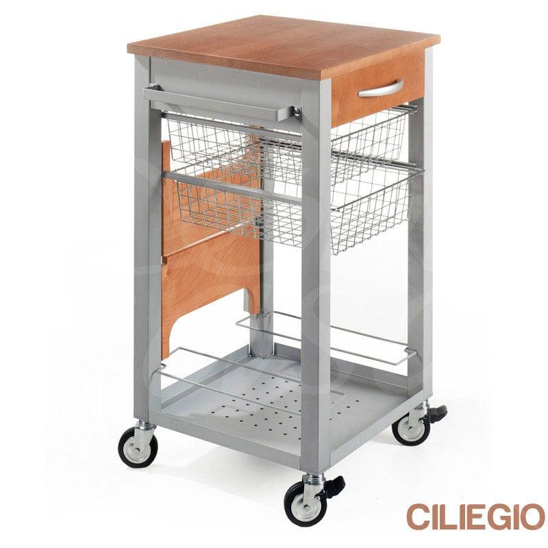 Carrello da cucina con scaletta richiudibile scaleo speedy cassetto e ripiani in acciaio e due - Carrello cucina acciaio ...