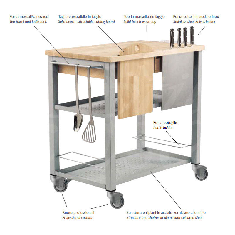 Carrello da Cucina professionale CHEF con ripiano in legno massello ...