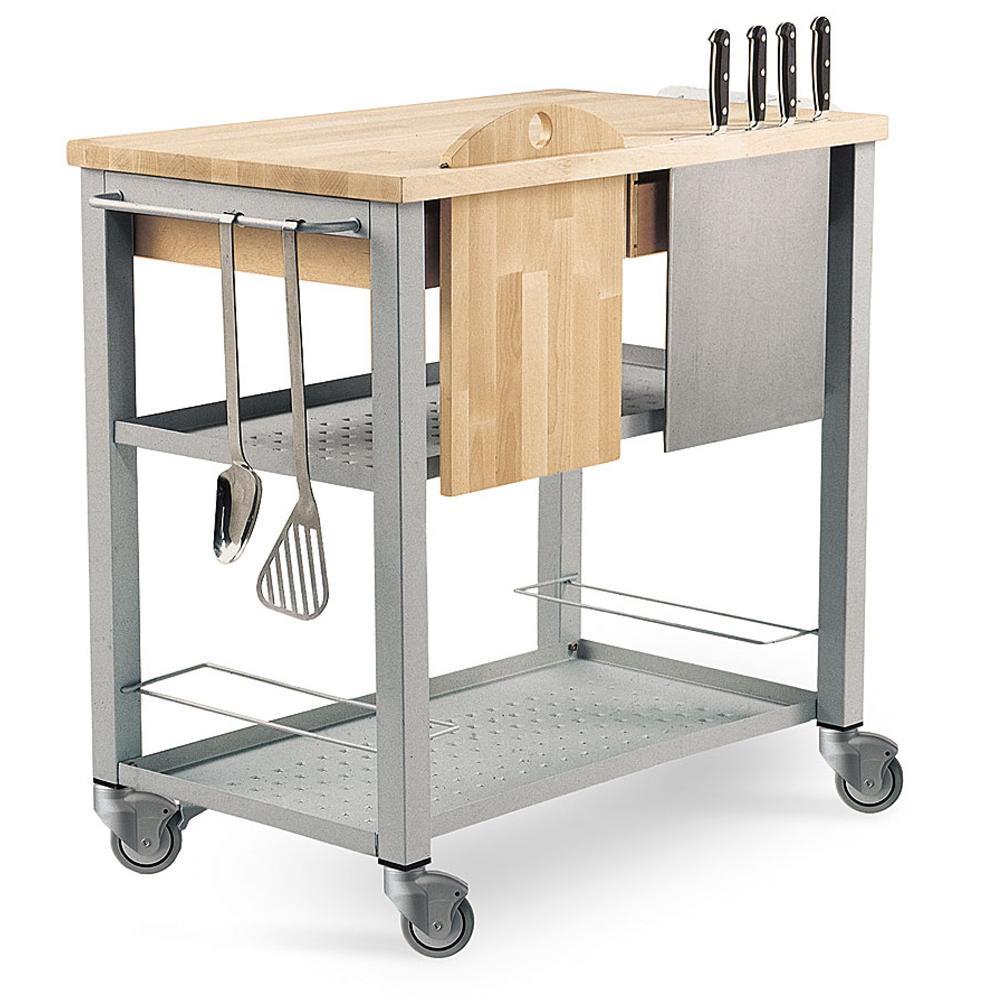 Carrello da cucina professionale chef con ripiano in legno massello di faggio con tagliere - Carrello da cucina ...