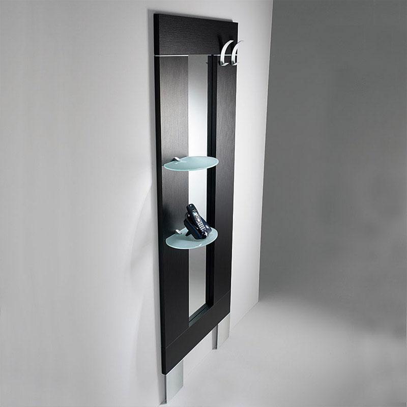 Ingresso con specchio appendiabiti mensole ovali h 190 - Appendiabiti da parete con specchio ...