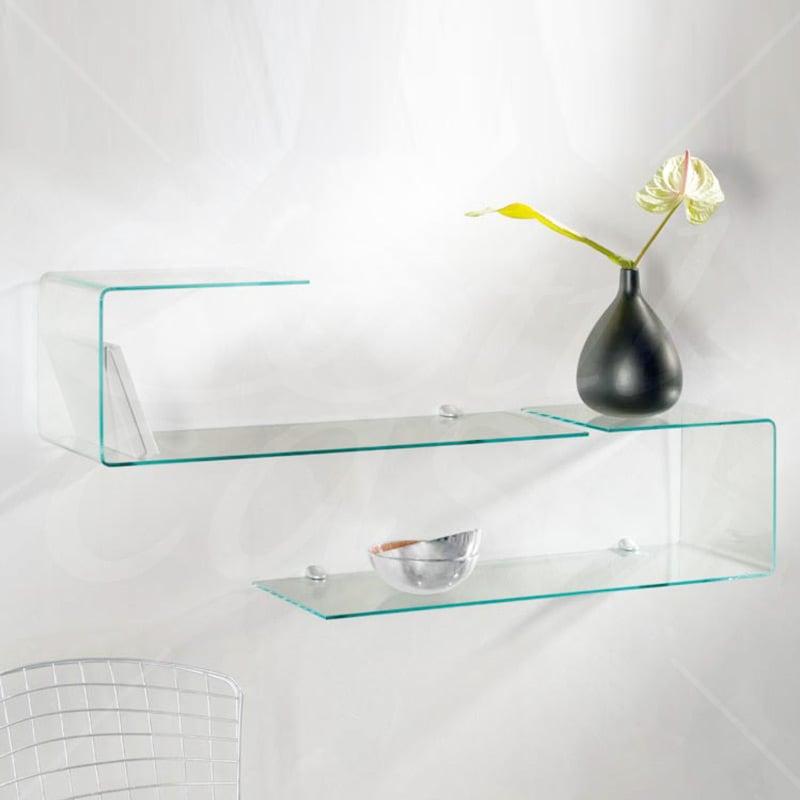 Mensola sagomata in vetro trasparente da 6 mm completa di for Supporti per mensole