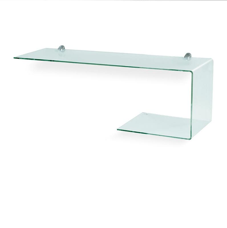 Mensola sagomata in vetro trasparente da 6 mm completa di for Mensole in alluminio