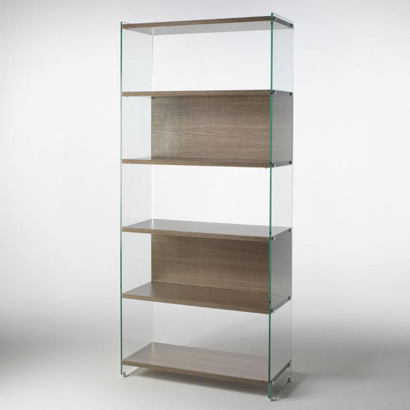 Libreria in vetro temperato BYBLOStrasparente da 10 mm e ripiani in  laminato 25 mm Larghezza 90cm | Pezzani srl