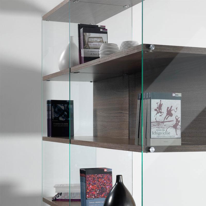 Libreria in vetro temperato BYBLOStrasparente da 10 mm e ripiani in ...