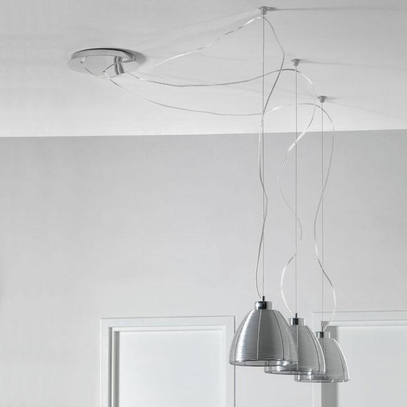 Lampadario a sospensione con paralme in filo allumino ed interno in vetro alumina 3 luci - Lampadari da interno ...