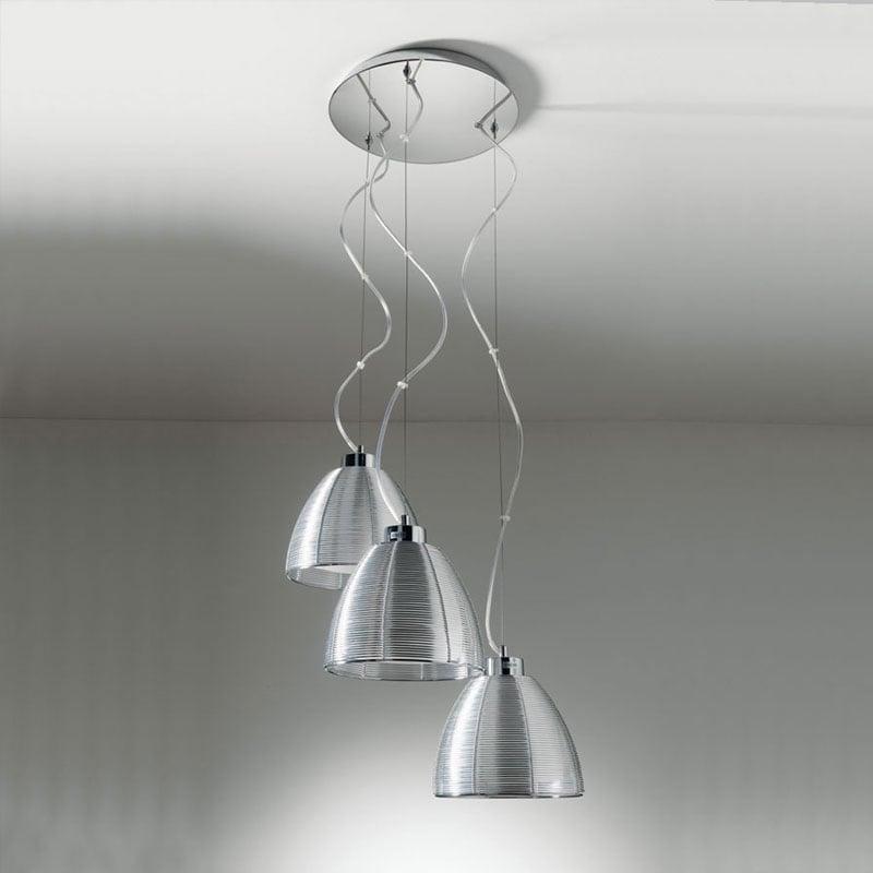 Lampadario a sospensione tre luci con paralme in filo for Lampadari con filo lungo
