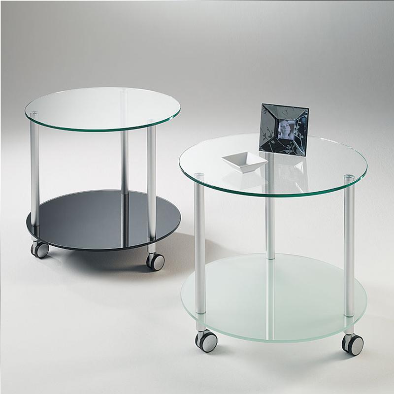Tavolino rotondo con struttura in tubolare di alluminio e ripiani ...
