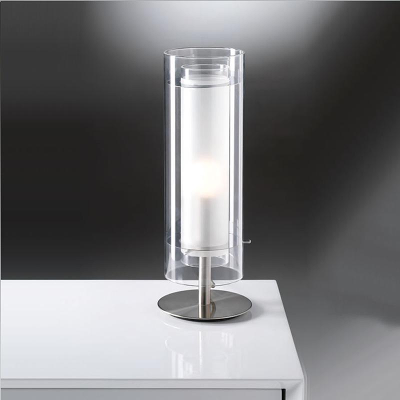 Lampada da tavolo diametro 12 struttura in acciaio for Tavolo vetro satinato