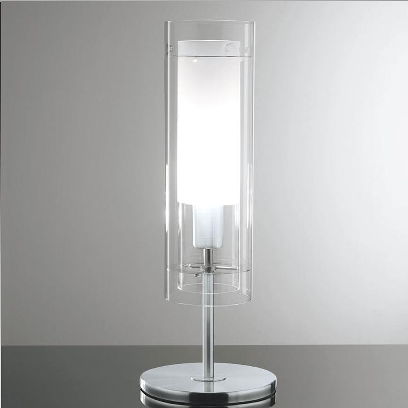 Lampada Da Tavolo Diametro 19 Struttura In Acciaio Satinato Paralume Esterno In Vetro