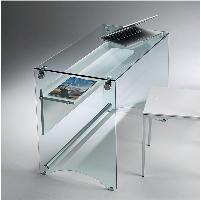 Scrivania porta computer in vetro temperato da 10 mm con - Ferri mobili recensioni ...