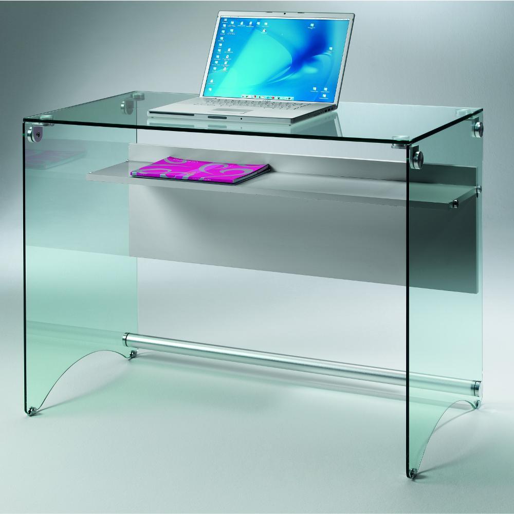 Scrivania porta computer in vetro temperato da 10 mm for Tavolini da ufficio