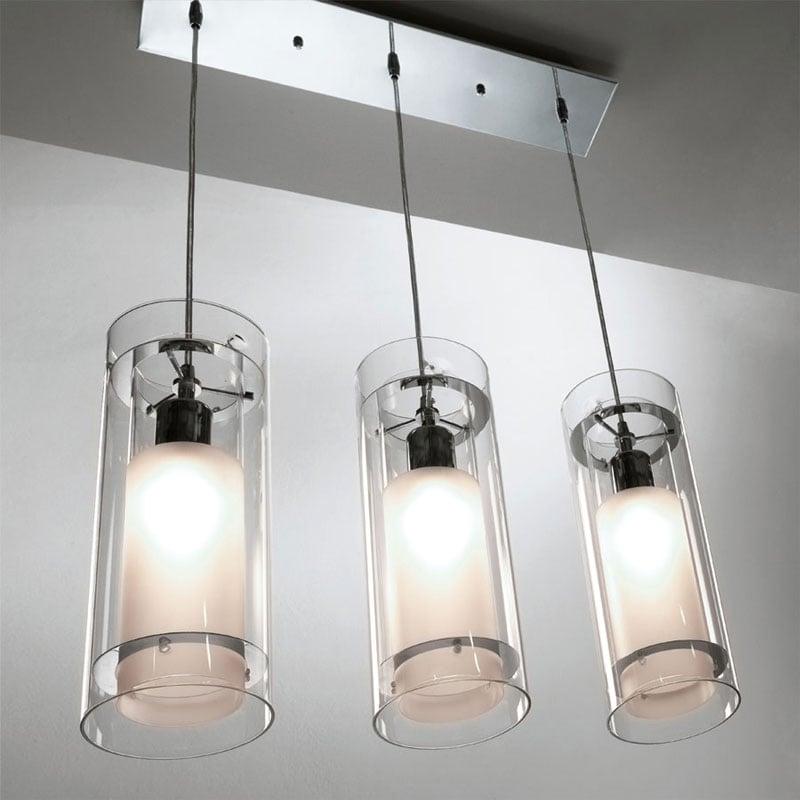 Lampada a sospensione composta da 3 luci paralumi - Lampade x cucina ...