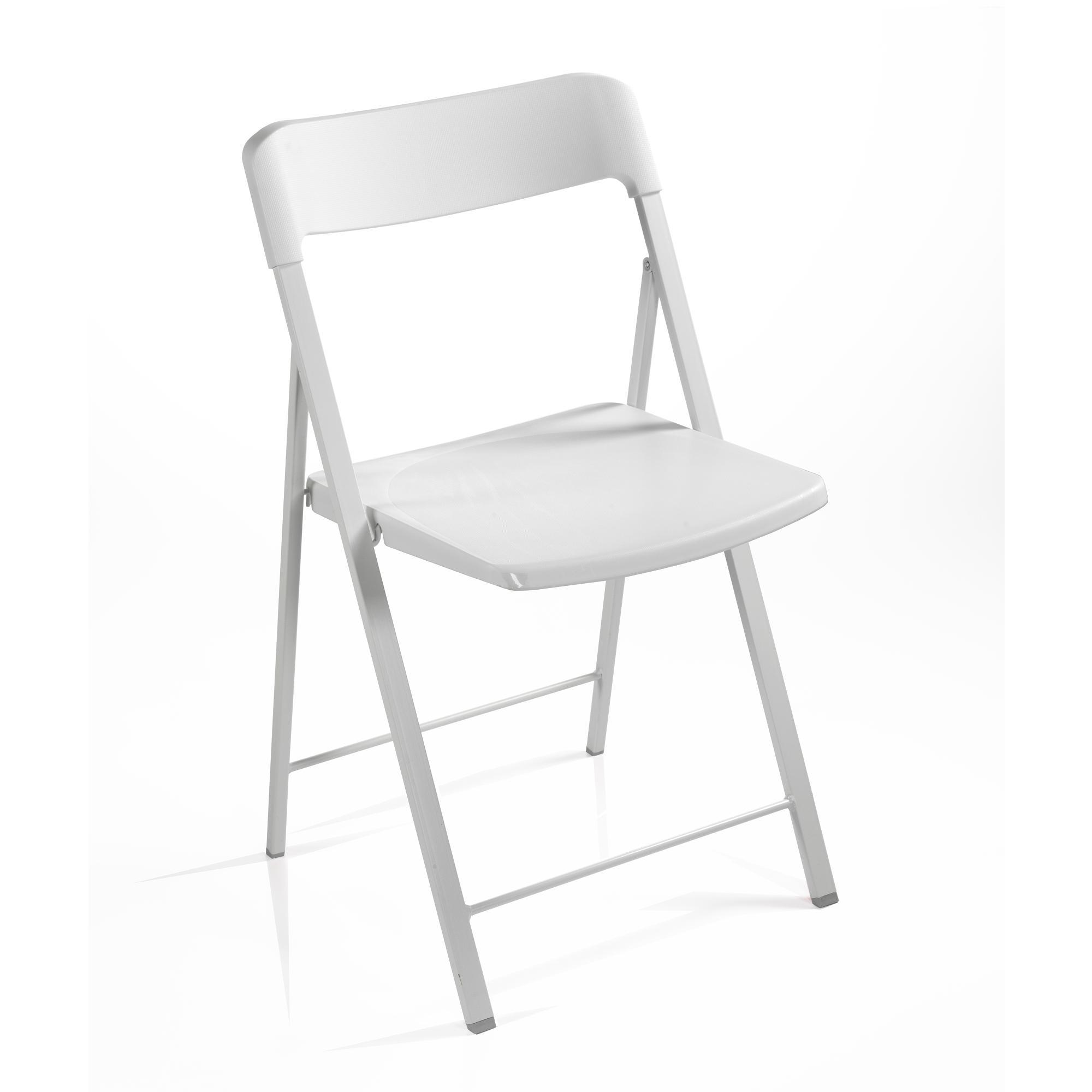 Sedia pieghevole richiudibile ZETA con struttura Alluminio verniciata bianca . seduta e schienale in plastica Bianco | Pezzani srl