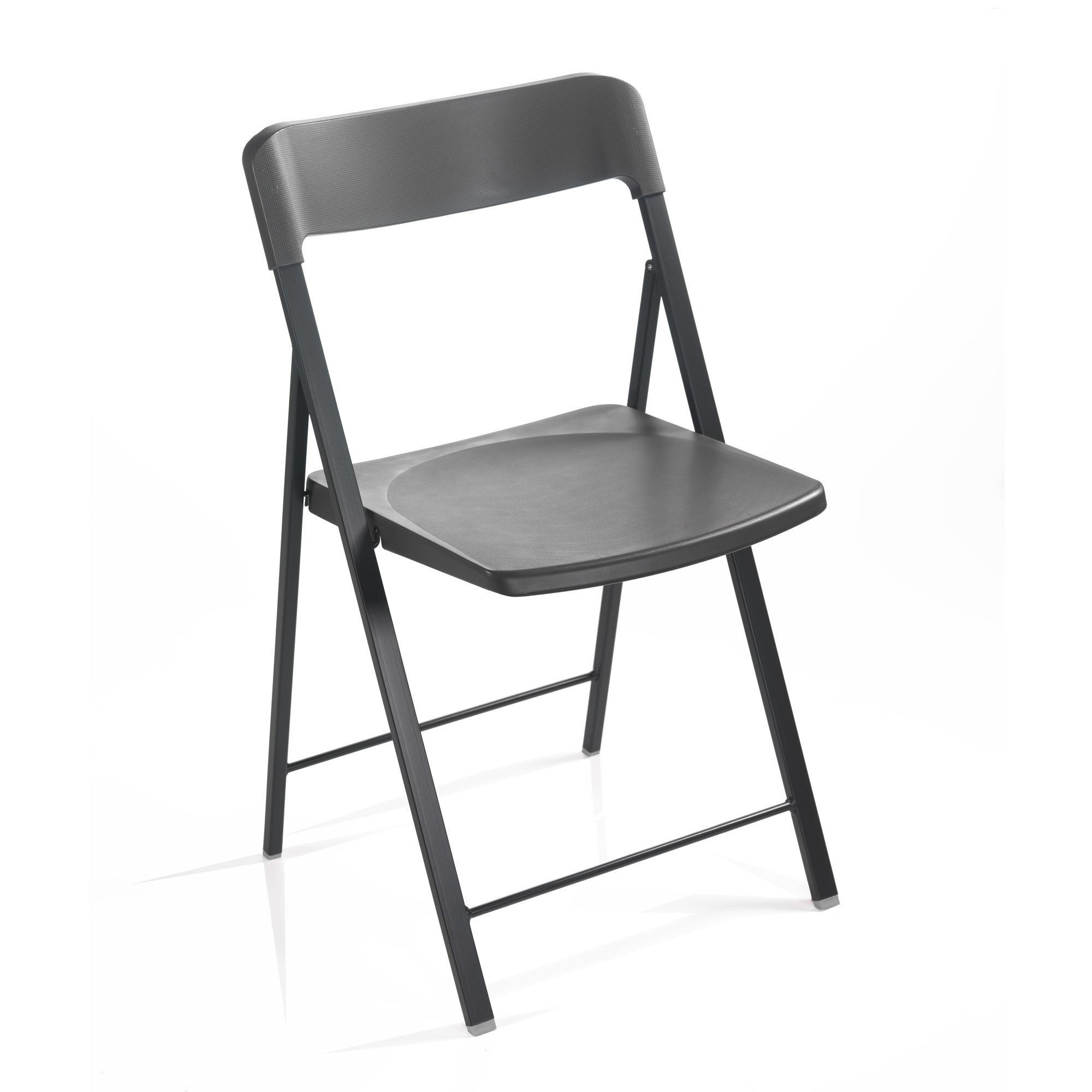 Sedia pieghevole richiudibile ZETA con struttura Alluminio seduta e schienale in plastica Grafite | Pezzani srl