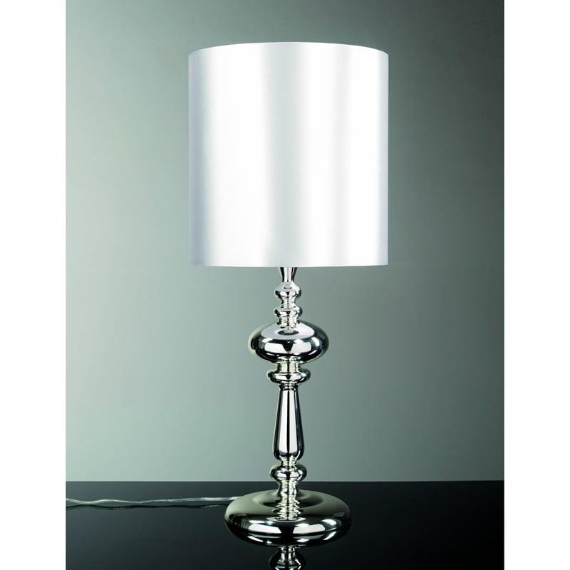 Lampada da tavolo base in acciaio e paralume argentato altezza 70 cm pezzani srl stilcasa - Base lampada da tavolo ...