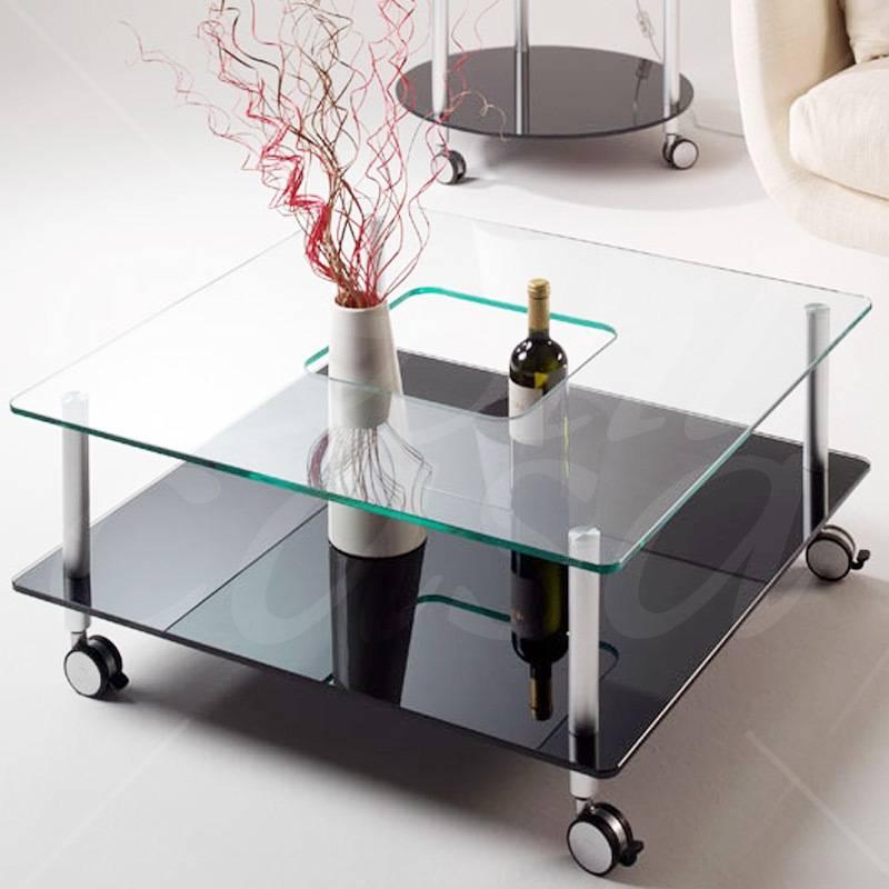 Tavolino da salotto quadrato con foro centrale tubi in alluminio vetro  temperato da 8mm 80x80xh38 | Pezzani srl