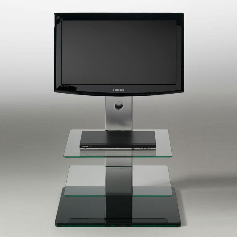 Porta tv con 2 ripiani in vetro temperato turn girevole 15 gradi max 50 pollici colore nero - Porta tv nero ...