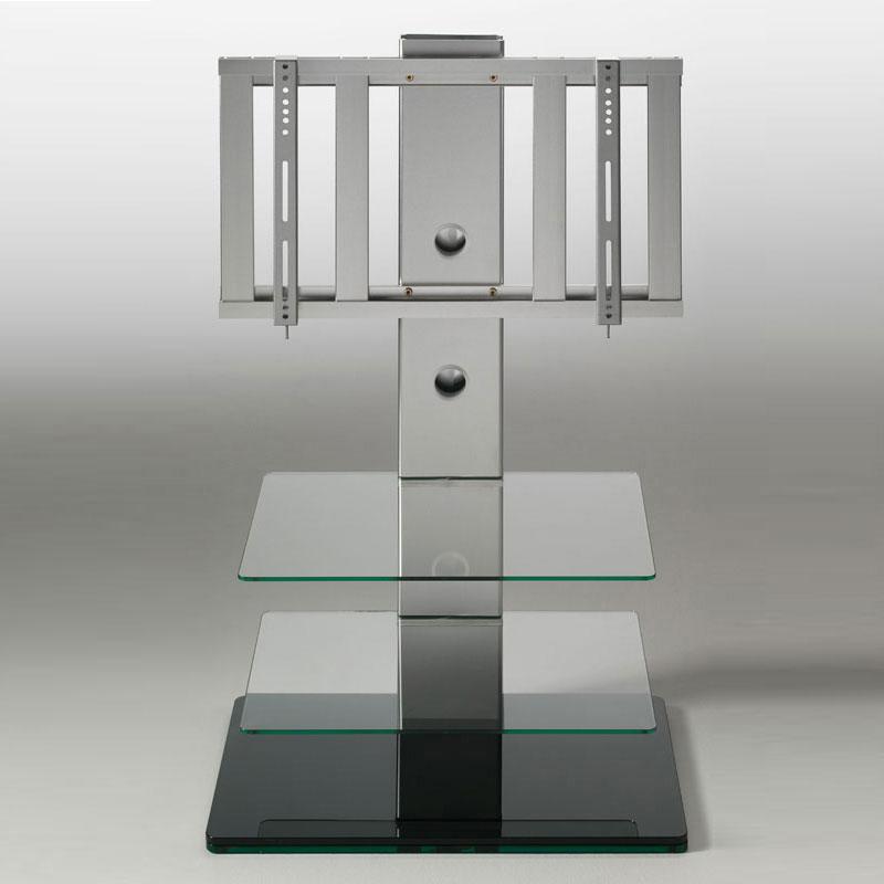 Porta tv con 2 ripiani in vetro temperato turn girevole 15 gradi max 50 pollici colore nero - Mobili porta tv in vetro ...