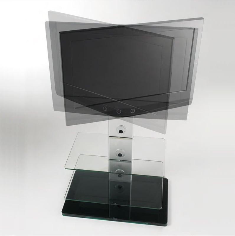 Porta TV con 2 ripiani in vetro temperato TURN girevole 15 gradi Max ...