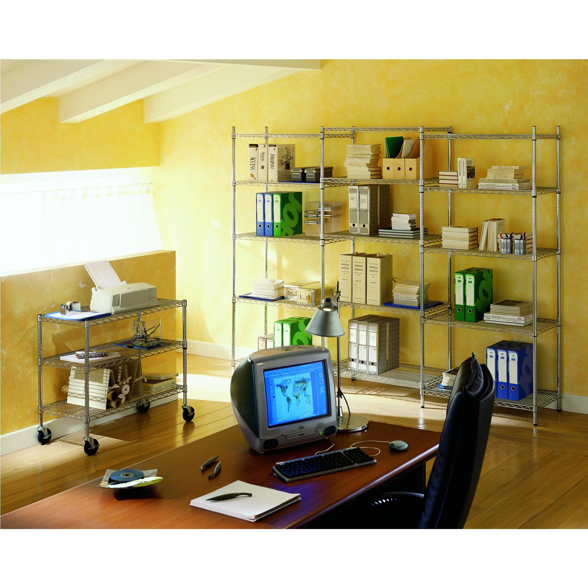 Scaffali Archimede System.Scaffale Cromato Con 5 Ripiani Cromato In Kit 45x90xh200 Cm Cromo Archimede System
