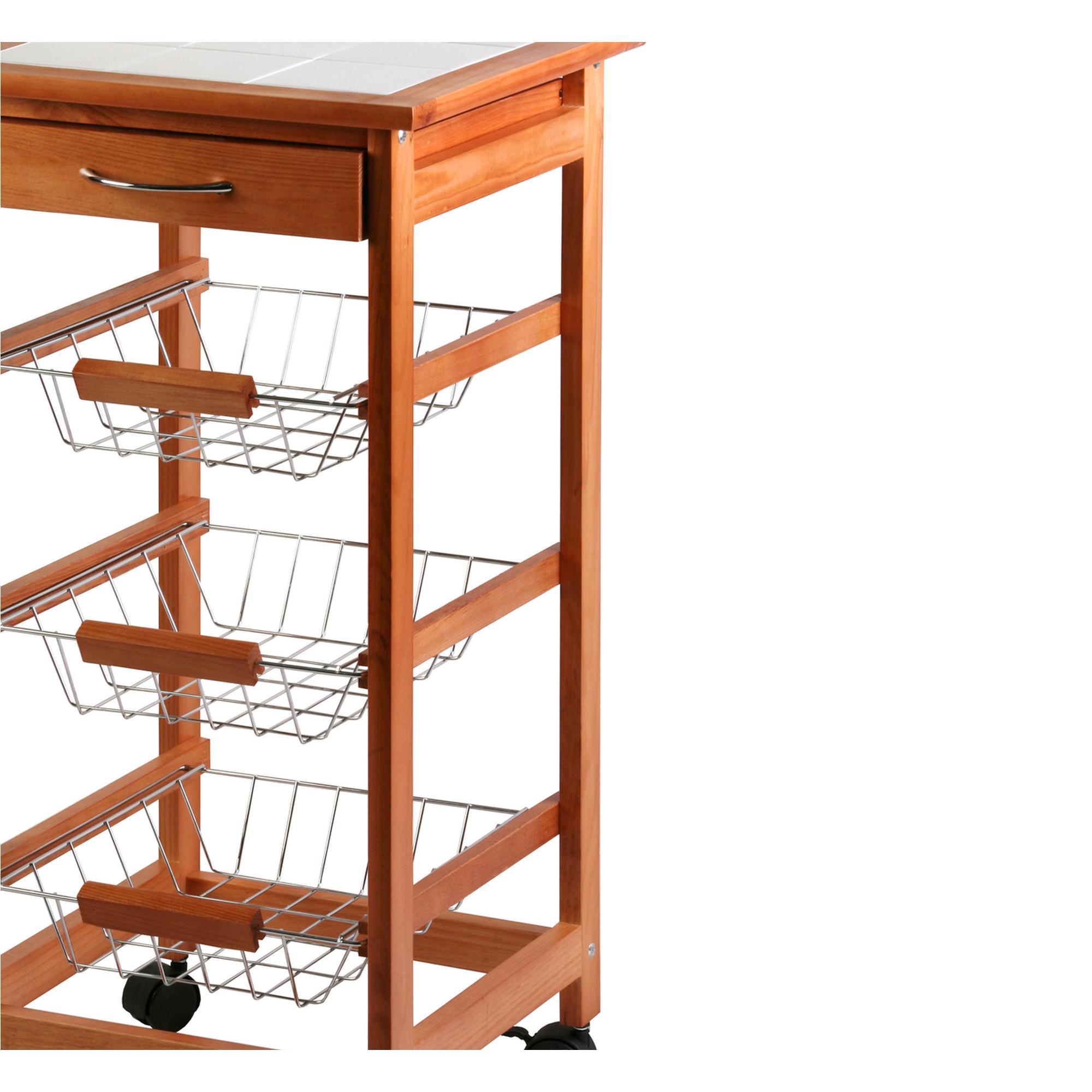 Carrello Da Cucina In Legno Di Faggio 37x37xh76 Cm Con Ruote Colore  #813919 2000 2000 Mobili Bassi Per Sala Da Pranzo