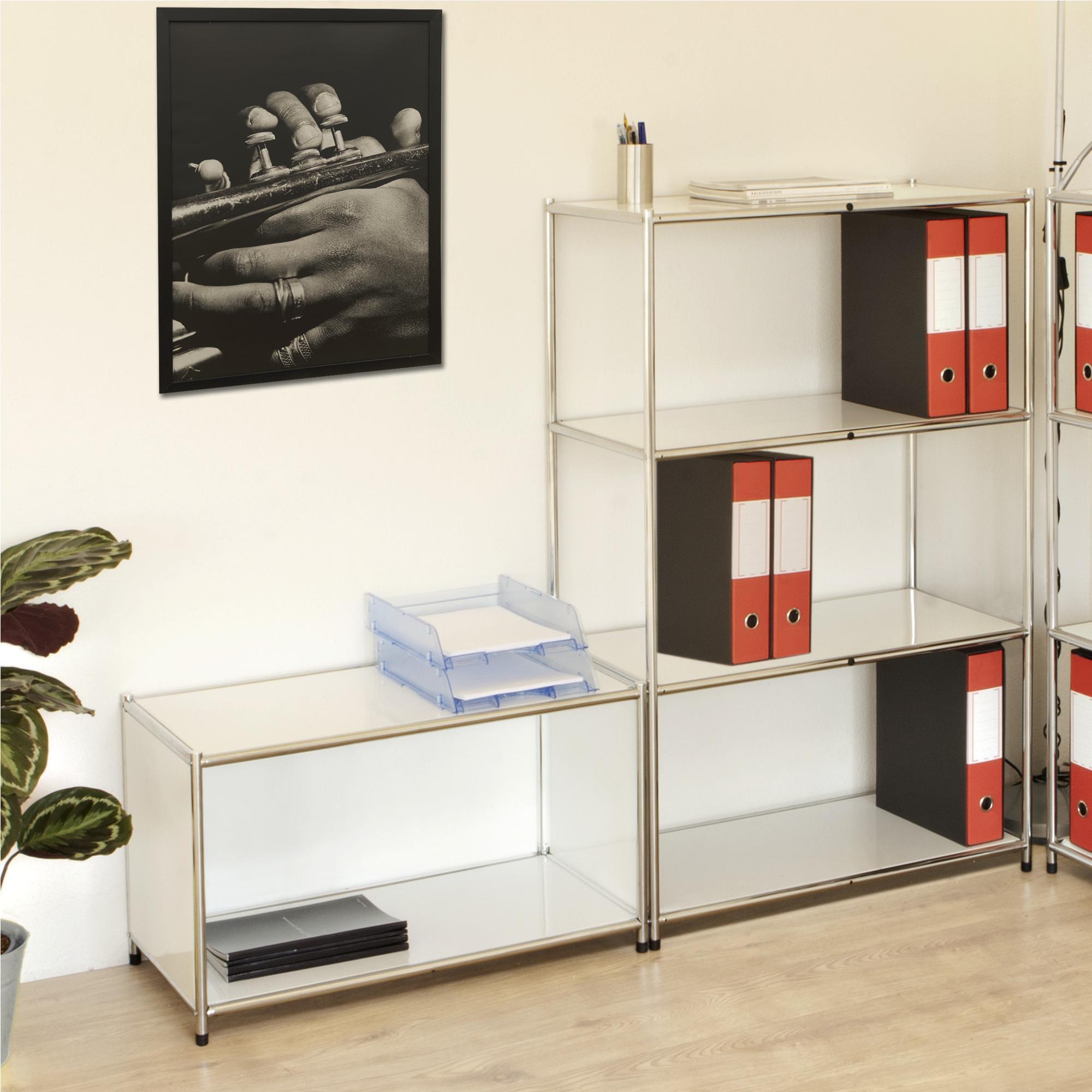 Scaffali Libreria Bianchi.Libreria Scaffale Cromato Con 4 Ripiani Bianchi 40x80xh120 Cm Cromo Archimede System
