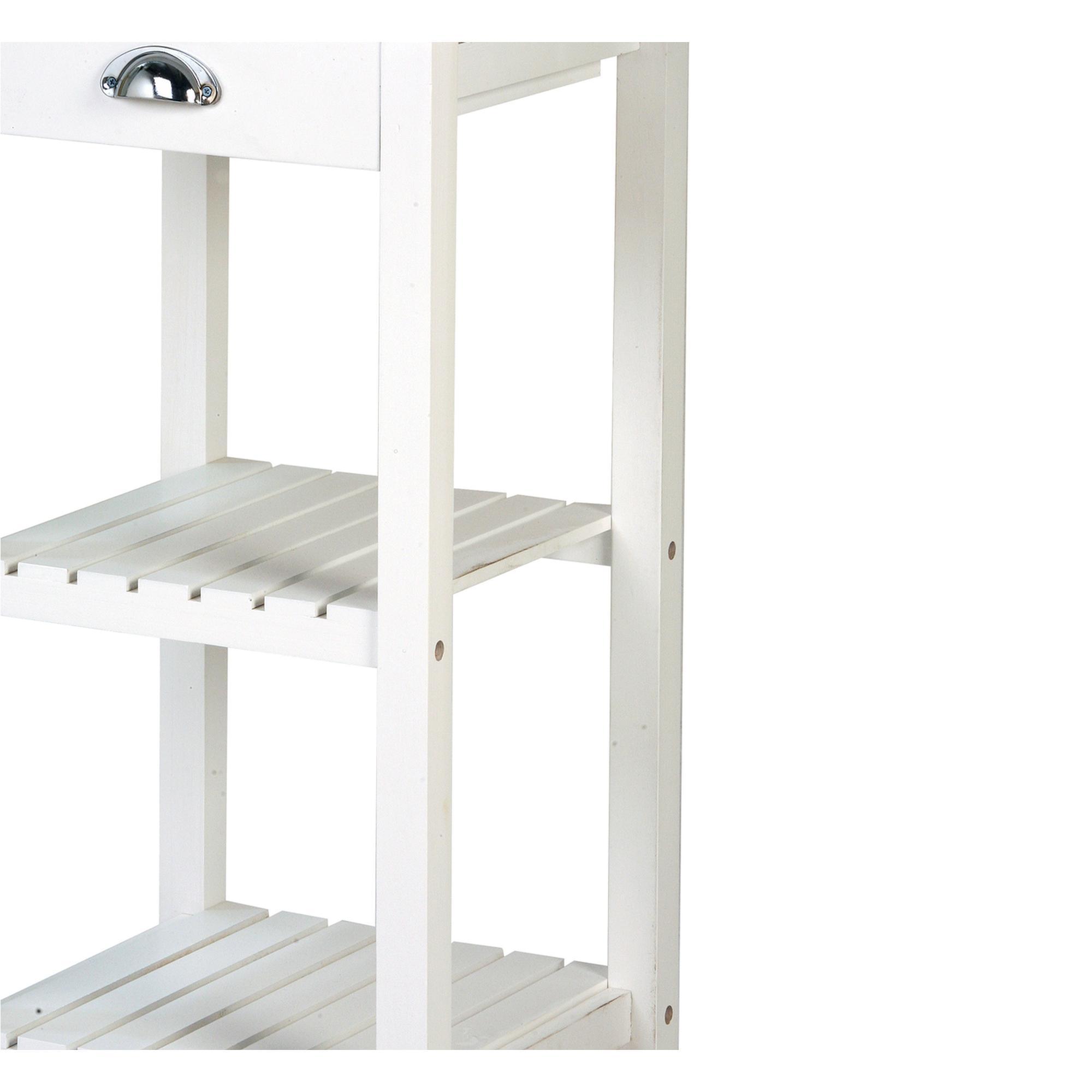 Carrello Da Cucina In Legno Bianco E Inox 40x40xh85 Cm Con Ruote Colore Bianco Archimede
