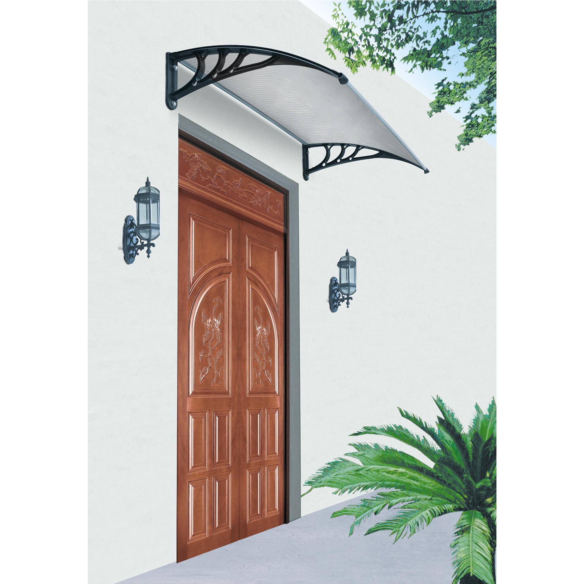 Pensilina da parete tettoia in policarbonato per porte e finestre 150x100 cm archimede system - Tettoia per porta ingresso ...