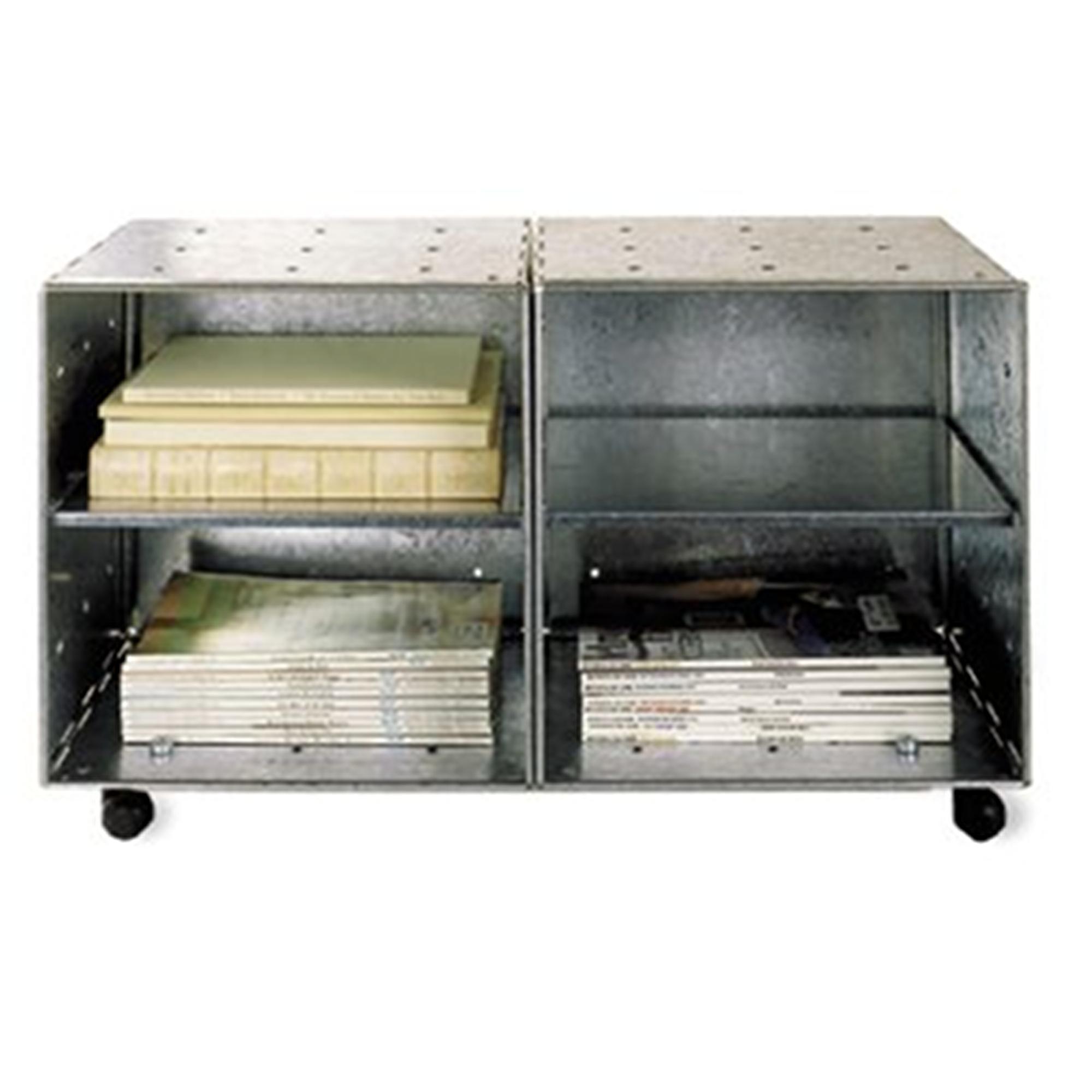 Mobile basso Libreria Bagno o Cucina Studio QBO 2 Moduli 70x35xh42h cm con Ruote e Mensole in Alluminio