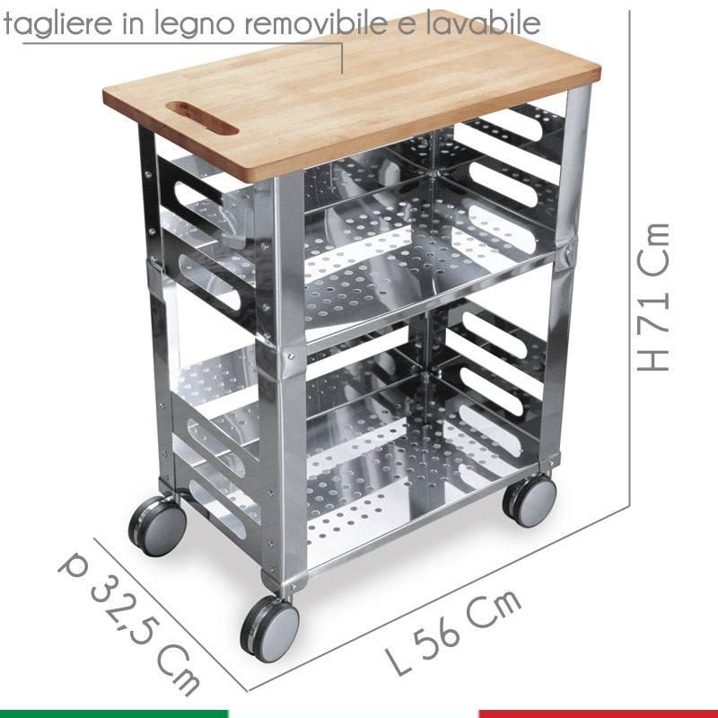 Awesome Carrello Cucina Acciaio Pictures - Ideas & Design 2017 ...