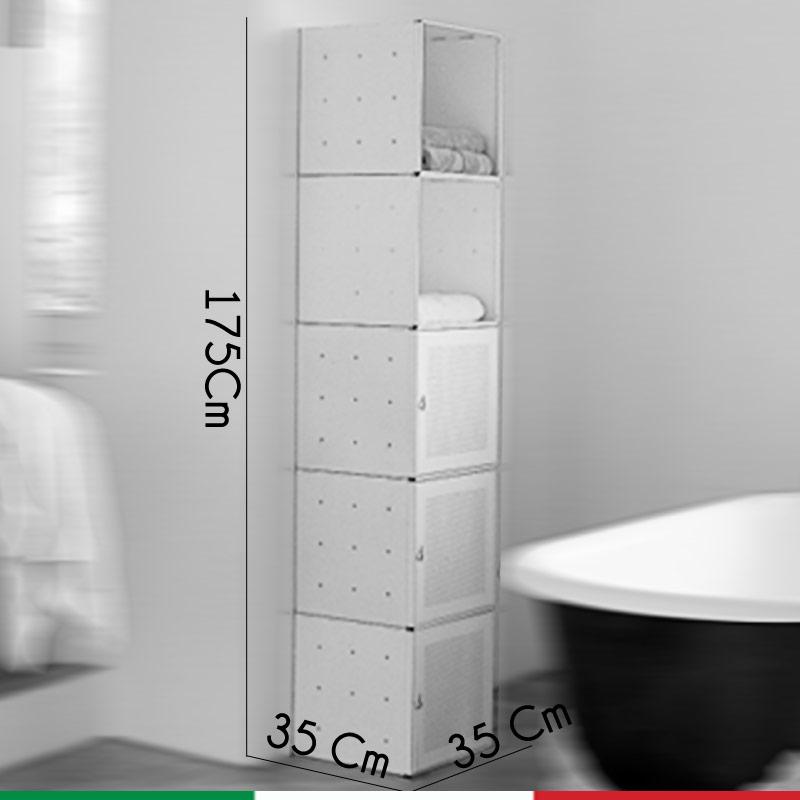 Composizione qbo doppia bagno bianca composta da mobile - Mobile alto bagno ...