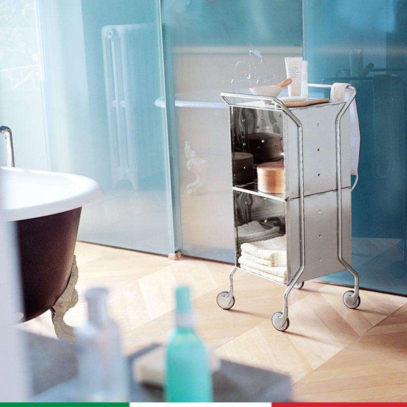 Carrello da bagno cassettiera 39x45xh94 cm con telaio in acciaio inox 1810 cubi in alluminio - Cassettiera bagno ...