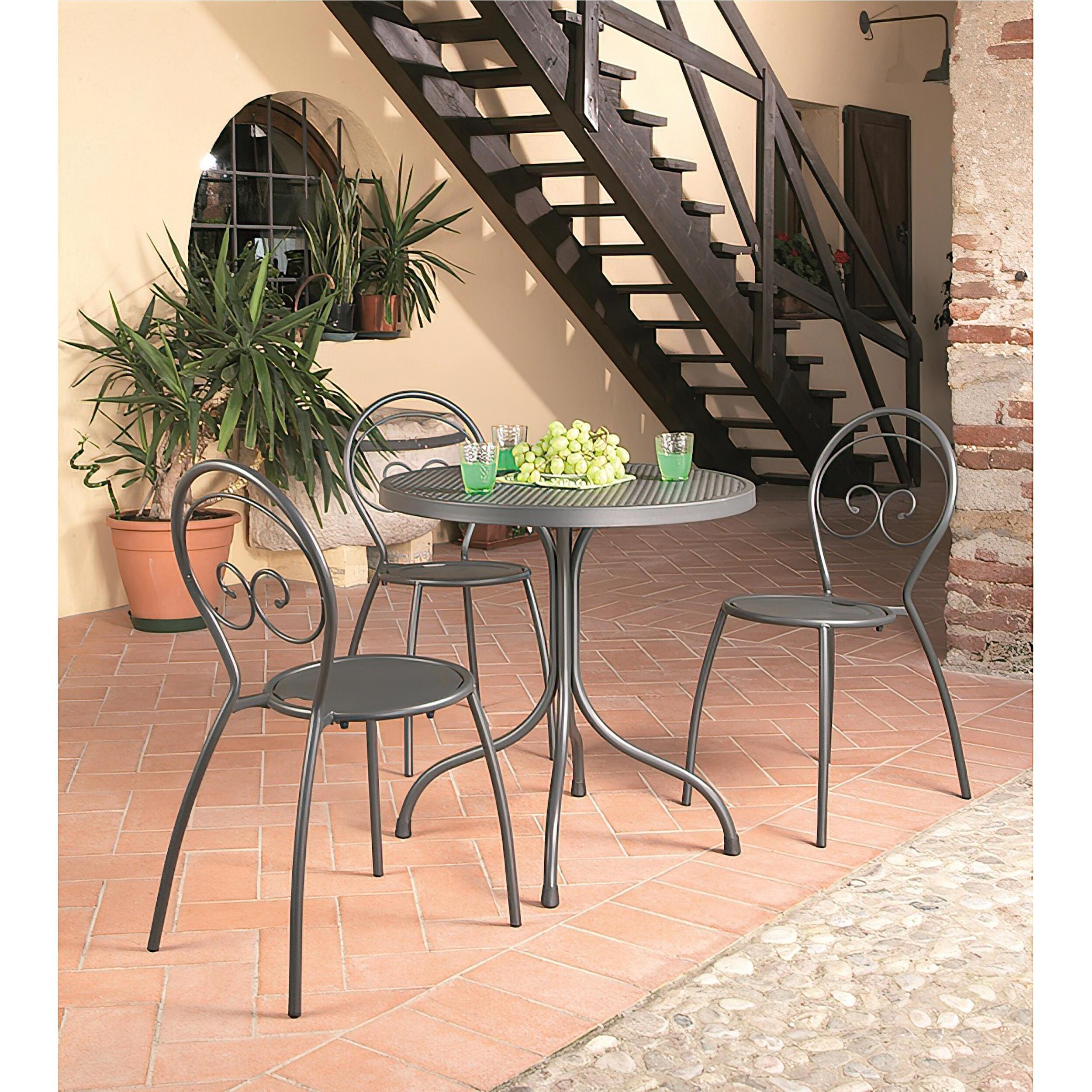 Set Tavolo Da Giardino Bistrot da 80 cm con 4 Sedie richiudibili Fiona Dimensioni Tavolo 80xh75 cm Peso 1
