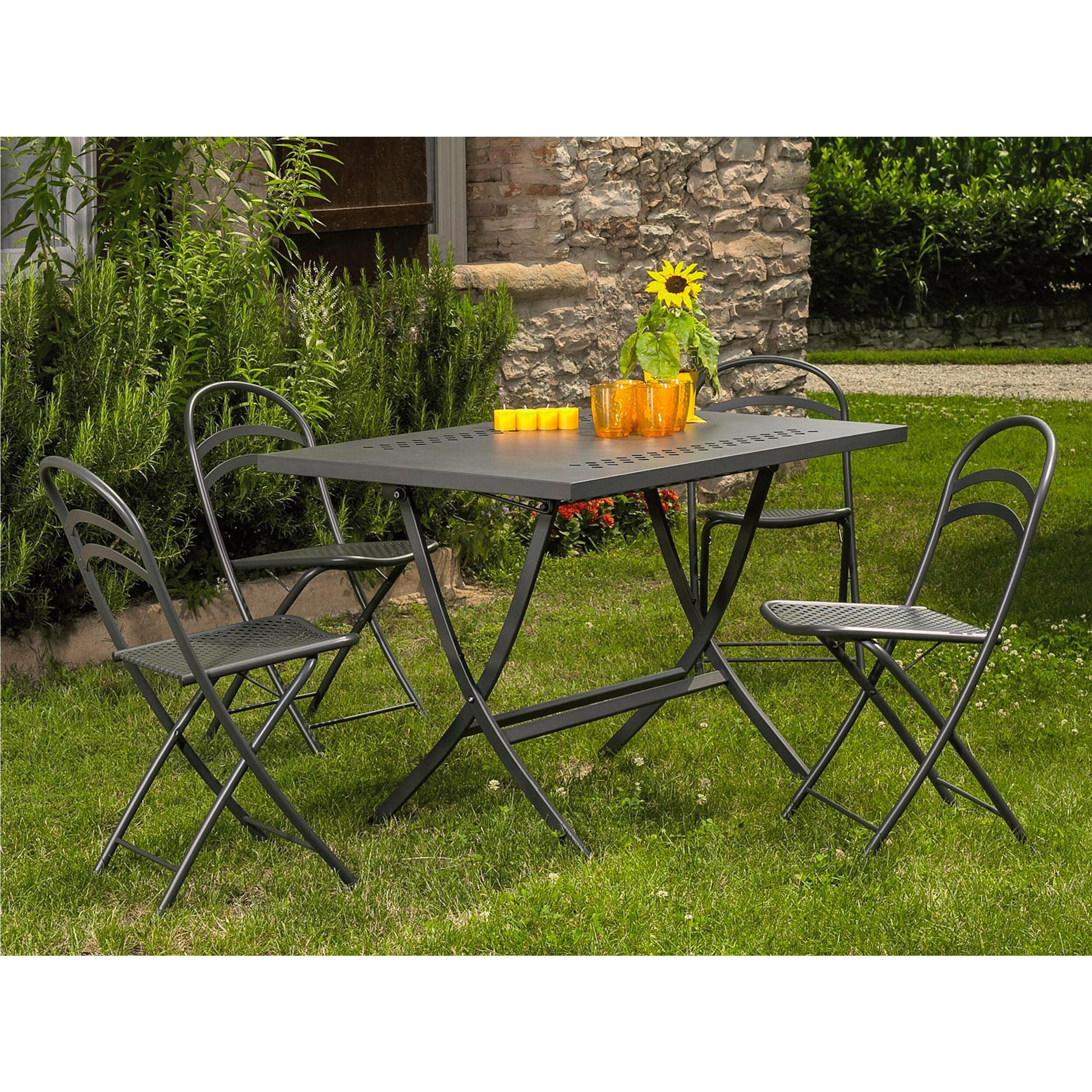 Tavolo Da Giardino richiudibile Hermes 160 Dimensioni 160x80xh75 cm Peso 21,9 kg struttura in acciaio con