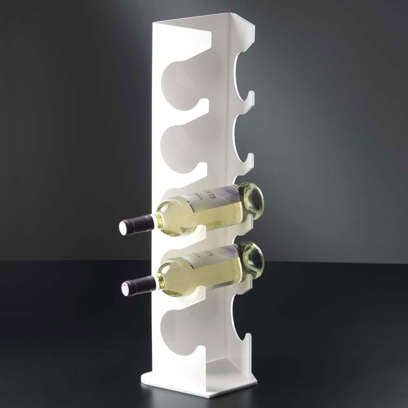 Portabottiglie In Legno Bianco.Portavino Da Appoggio 23x17xh70 Cm R2 5 Bottiglie In Plexiglas Bianco Vesta