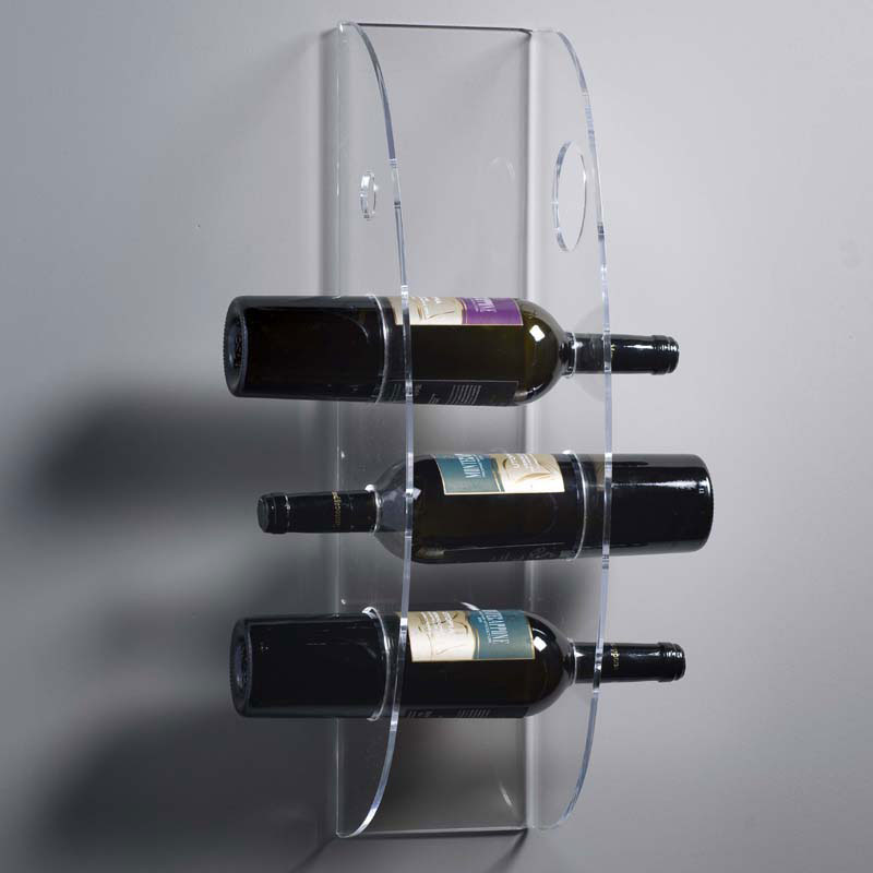 Portavino da parete cm eno in plexiglas trasparente contenuto 4 bottiglie vesta - Porta vino da parete ...