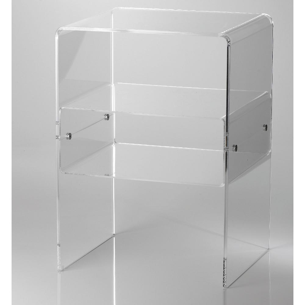 Comodino con 1 ripiano vega struttura in plexiglas 8 mm struttura trasparente ripiano tortora - Mobili in plexiglass ...