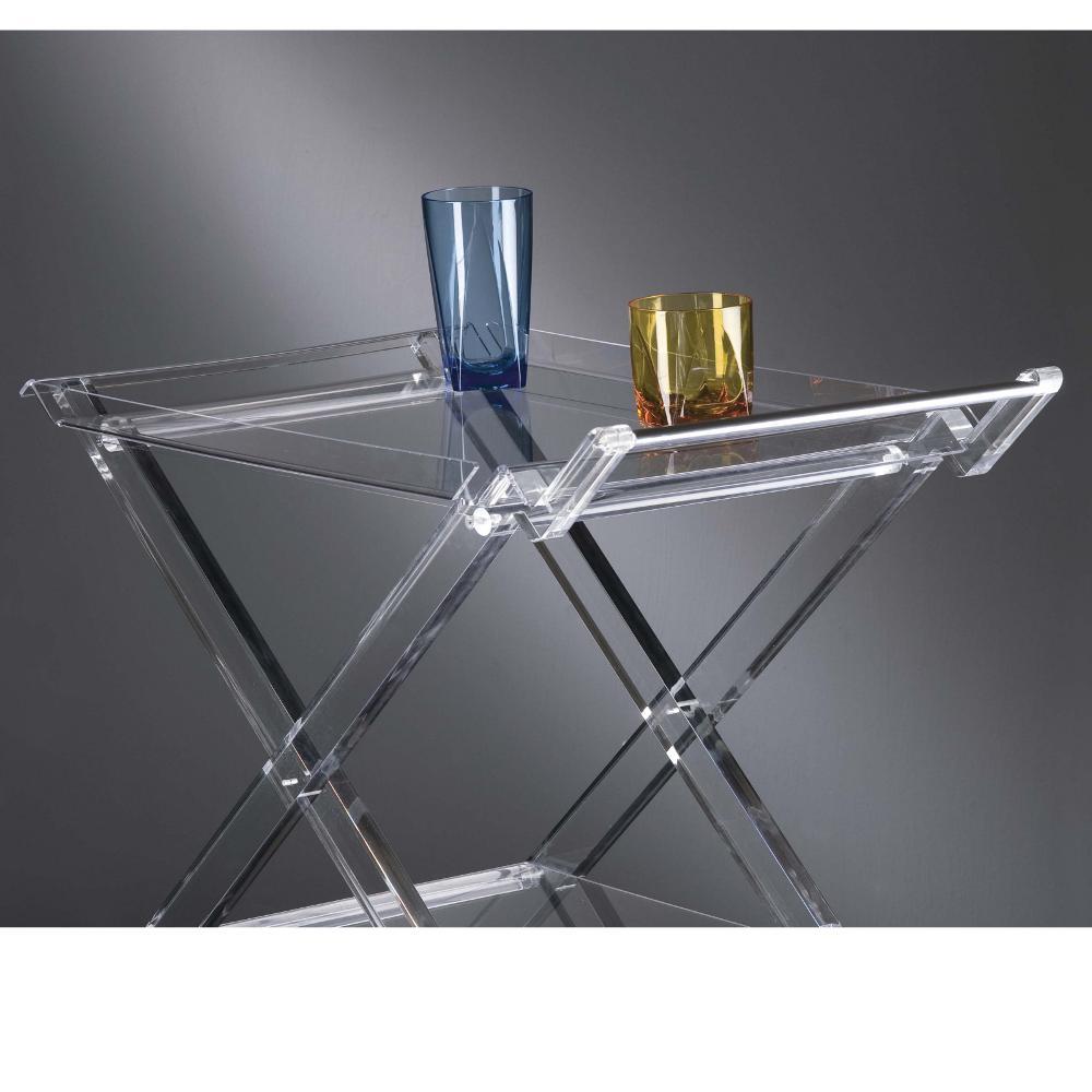 Carrello portavivande pieghevole 69x40.5xh73 cm AURELIO in plexiglas traspare...