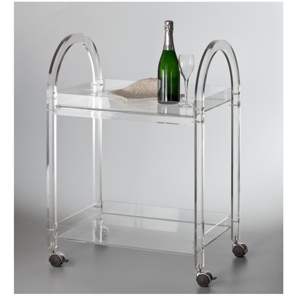 Carrello portavivande in plexi trasparente like water con for Carrello portalegna da arredamento