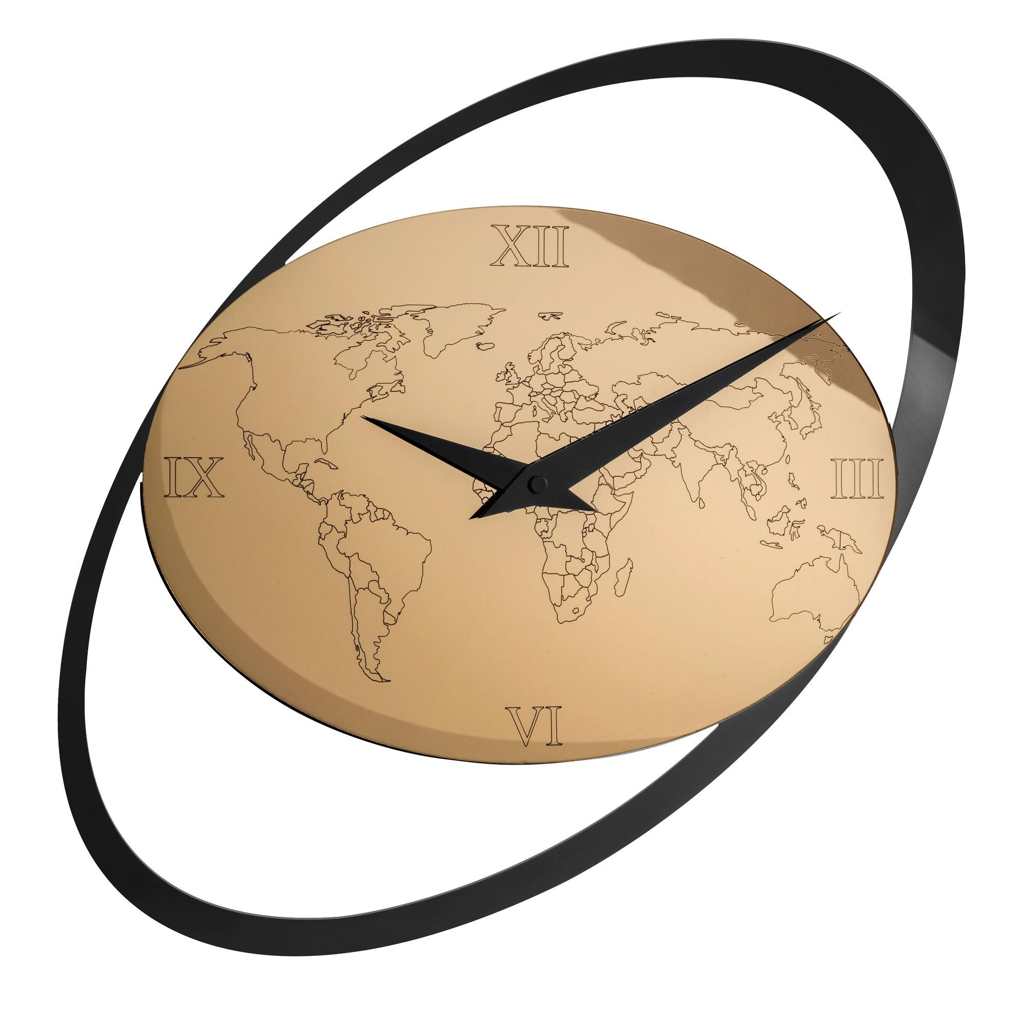 Orologio grande da Muro Hours in acrilico specchiato 56x1xh86 cm con oro  specchiato