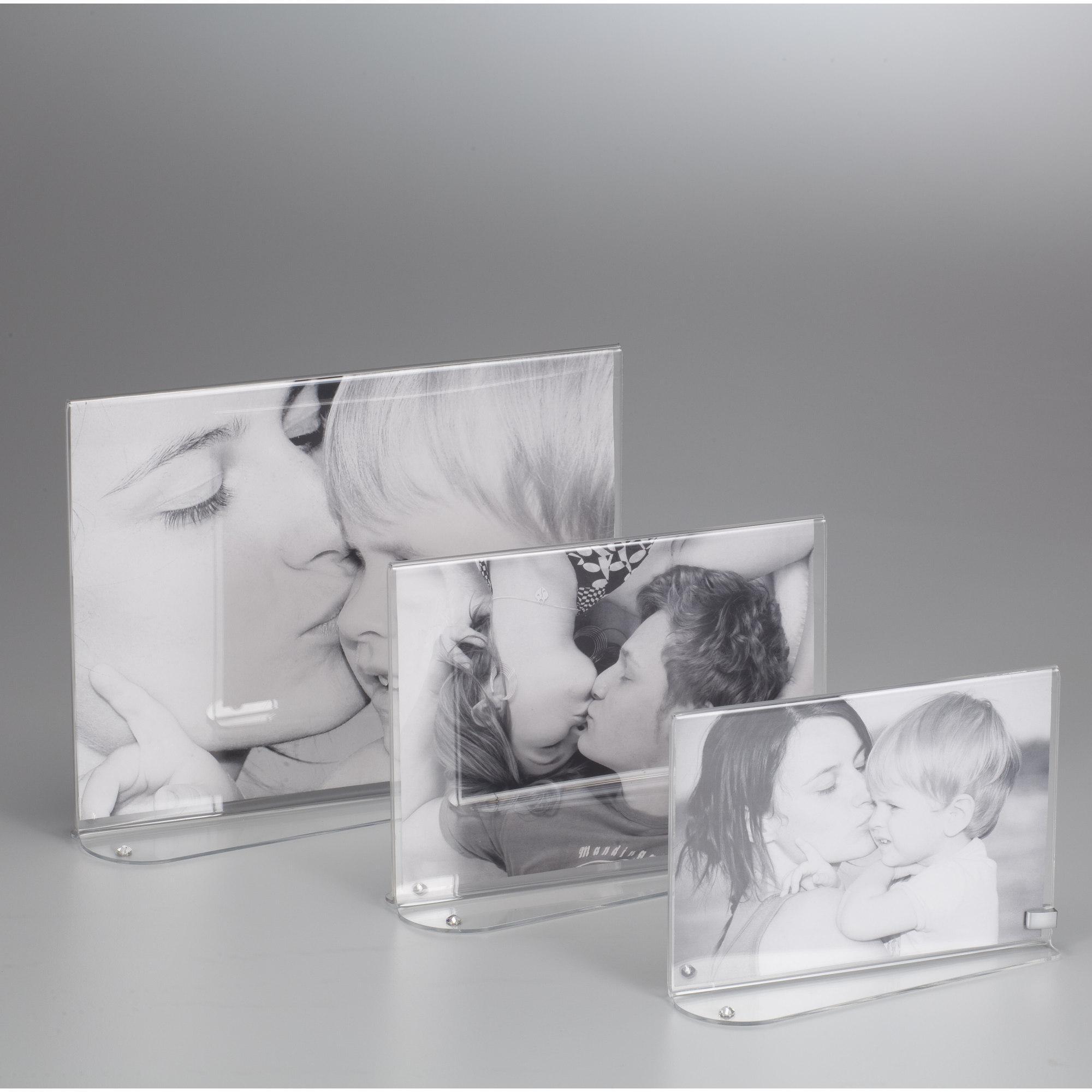 portafoto in plexiglas orizzontale bifacciale strass o per foto 18x24 24x6xh18 cm cornice. Black Bedroom Furniture Sets. Home Design Ideas
