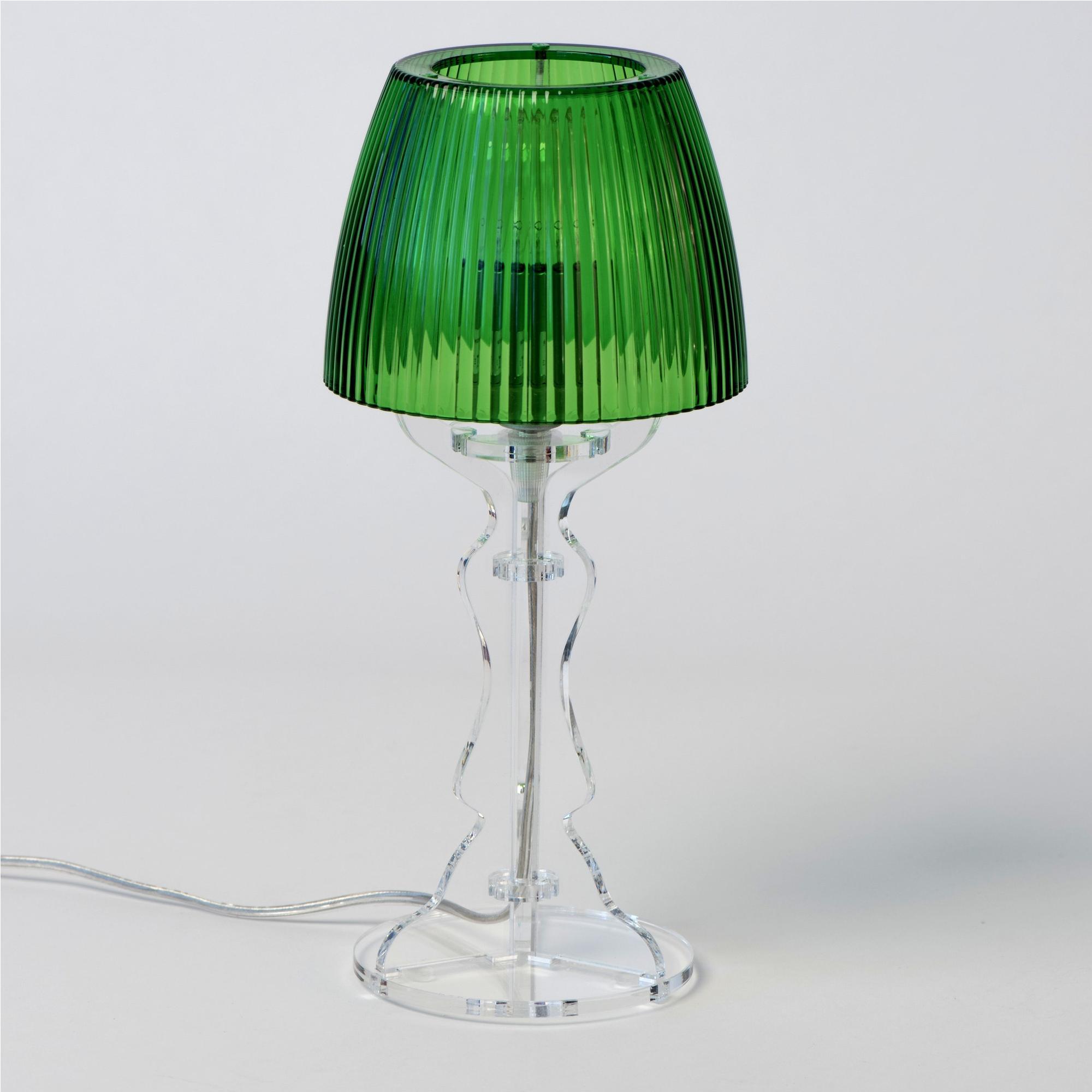 Lampada da tavolo abat jour piccola lady diametro 14xh31cm trasparente verde vesta stilcasa for Lampada da tavolo verde
