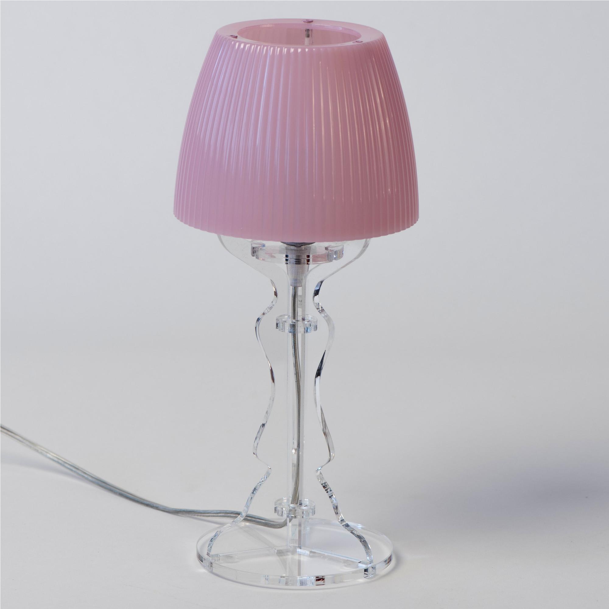 Lampada Da Tavolo Abat Jour Piccola Lady Diametro O14xh31cm Trasparente Rosa Vesta Stilcasa Net Lampade Da Tavolo