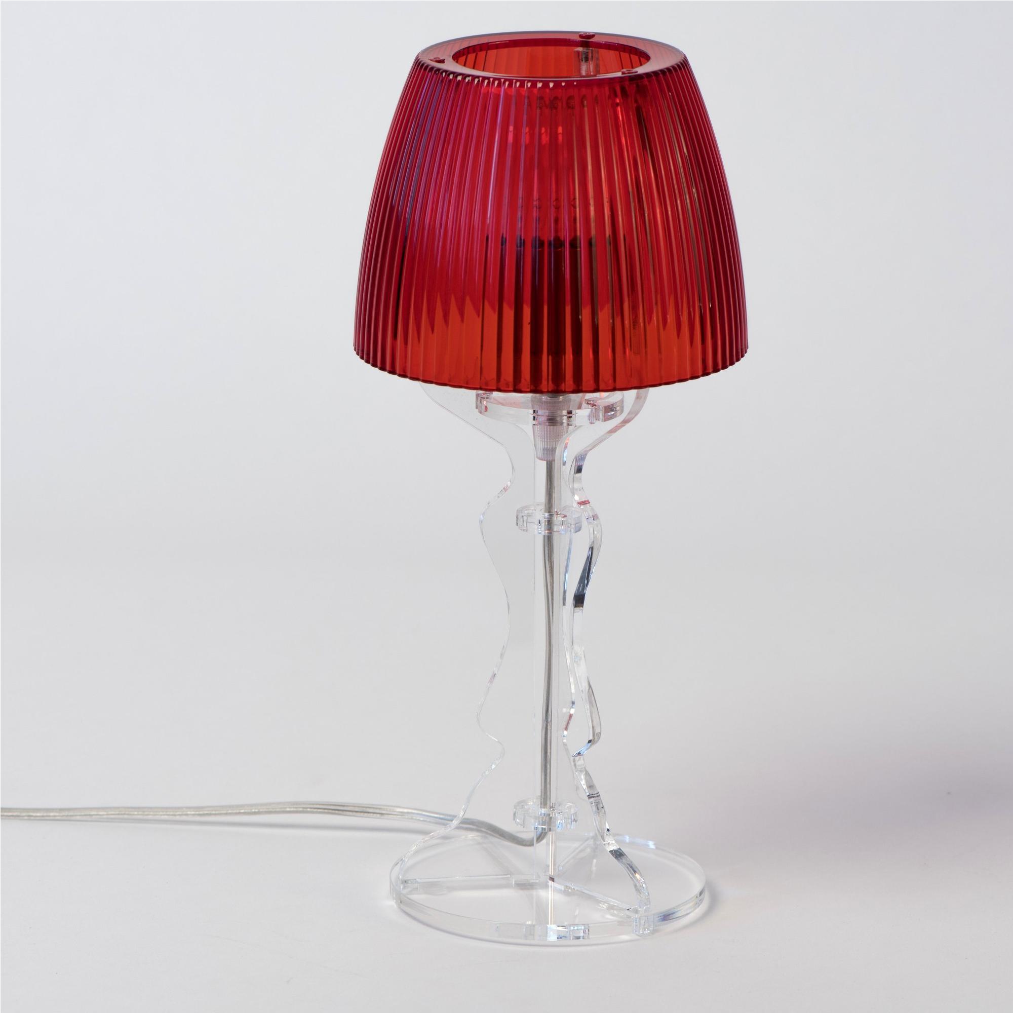 lampada da tavolo abat jour piccola lady diametro 14xh31cm trasparente rosso vesta stilcasa. Black Bedroom Furniture Sets. Home Design Ideas